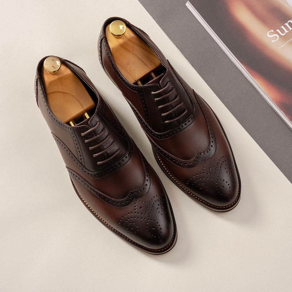 Giày da nam hàng hiệu màu cafe GNTA2692-CF