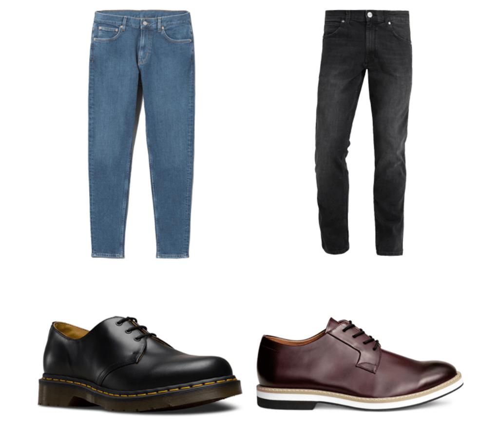 Mặc quần jean đi kèm với giày âu đen