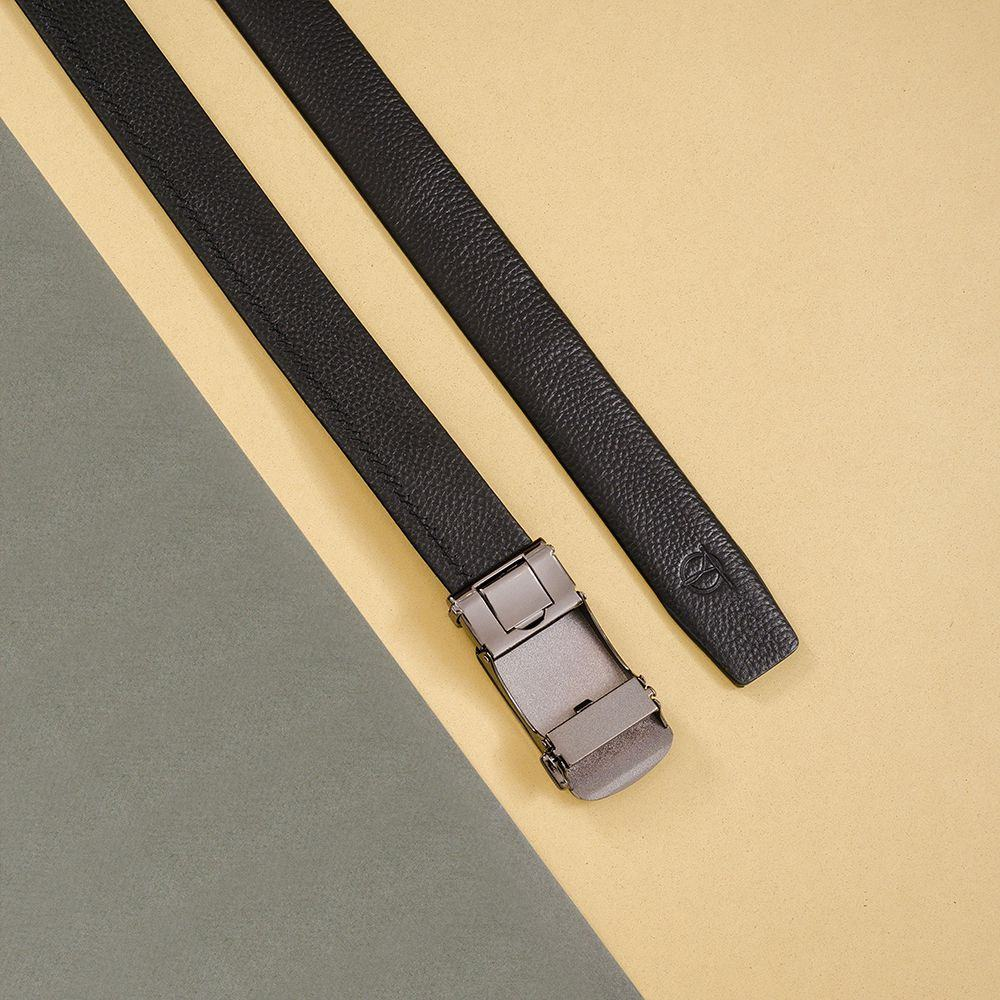 Thắt lưng nam da bò mặt khóa đen D390-202081