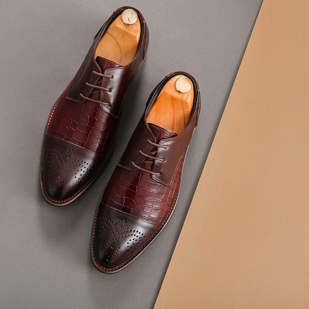 Giày tây nam buộc dây vân da GNTA2695-N