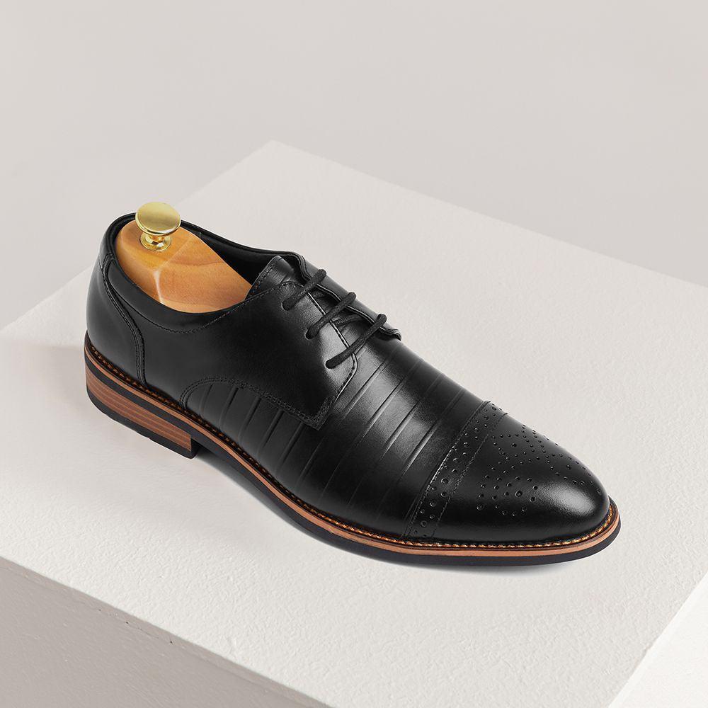 Giày tây nam da bò họa tiết GNTA2694-D