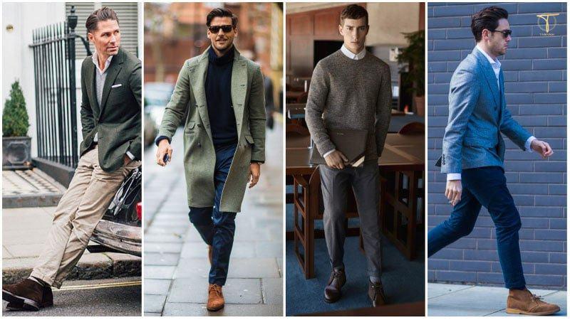 Phối đồ theo phong cách smart-casual với Chukka boots