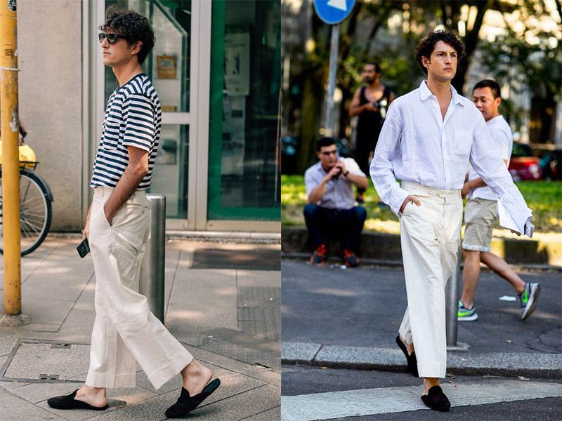 Gu thời trang quần kaki với giày sục